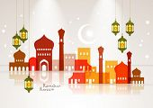 stock photo of hari raya  - Vector Muslim Mosque and Oil Lamp Graphics - JPG