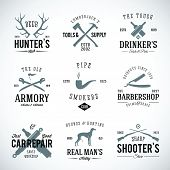 foto of gun shop  - Set of Vintage Labels With Retro Typography for Men - JPG