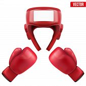 foto of knockout  - Boxing helmet and gloves - JPG