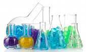 Flasks with hydrogel isolated on white poster