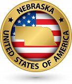 picture of nebraska  - Nebraska state gold label with state map vector illustration - JPG