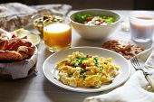 stock photo of scrambled eggs  - Fresh breakfast food - JPG