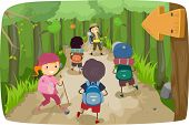 pic of stickman  - Illustration of Little Kids on a Hiking Trip - JPG
