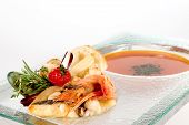 image of cuttlefish  - Fish soup with scallops prawns squids cuttlefish mussels and sea bass - JPG
