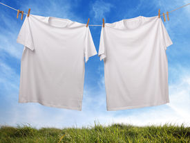 stock photo of clotheslines  - White t - JPG
