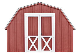 stock photo of barn house  - Traditional red barn wood shed for storage - JPG