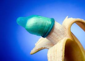 pic of std  - Banana wearing a condom. Horizontally framed shot. ** Note: Shallow depth of field - JPG