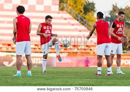 Sisaket Thailand-october 29: Thossawat Limwannasathian Of Army Utd. In Action During A Training Ahea