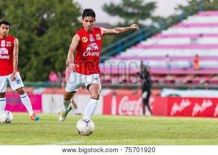 Sisaket Thailand-october 29: Anuwat Noicheunphan Of Army Utd. Shooting Ball During A Training Ahead
