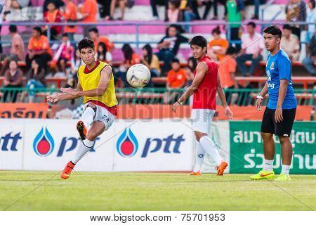 Sisaket Thailand-october 29: Chainarong Tathong Of Army Utd. Shooting Ball During A Training Ahead T