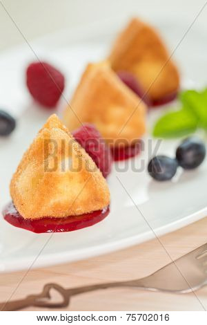 Fried Camembert Cheese With Raspberry Coulis And Fresh Berry For Decoration, Vertical Composition