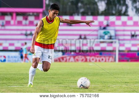 Sisaket Thailand-october 29: Mongkol Tossakrai Of Army Utd. In Action During A Training Ahead Thai P