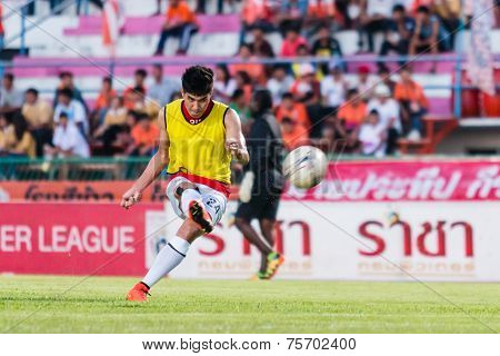 Sisaket Thailand-october 29: Chainarong Tathong Of Army Utd. Shooting Ball During A Training Ahead T