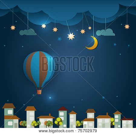 Abstract Paper cut-hot Air Balloon And Moon With Stars
