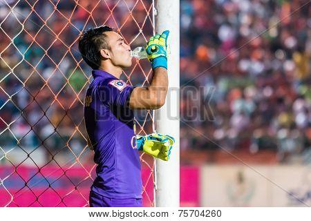 Sisaket Thailand-october 29: Sarawut Konglarp Of Army Utd. Drinking Water During Thai Premier League