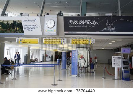 Inside of British Airways Terminal 7 at JFK International Airport in New York