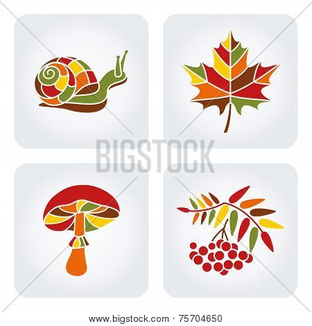 Autumn mosaic icons