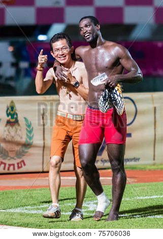 Sisaket Thailand-october 29: Taneth Kuerat, Chairman Of Sisaket Fc (orange), In Action After The End