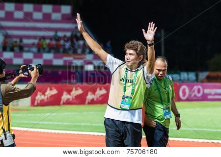 Sisaket Thailand-october 29: Chalermwoot Sa-ngapol, Head Coach Of Sisaket Fc, In Action After The En