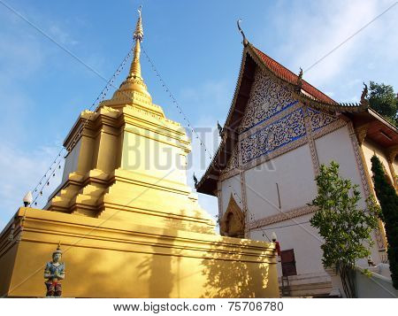 Stupa and temple in Chiangmai, North of Thailand.