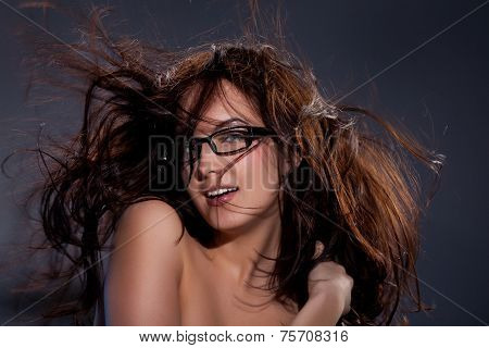 Young Topless Woman With Flying Hair