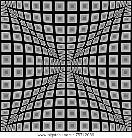 Design Monochrome Warped Checked Pattern