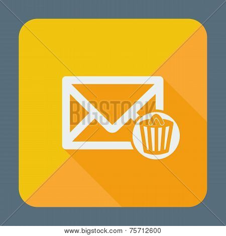 Single flat icon with long shadow for web applications, email icons design. Envelope with trash can.