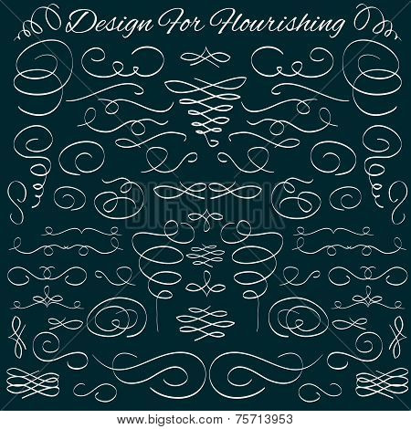Vector vintage calligraphic design elements and page decoration, dividers and dashes. Hand-drawn cal
