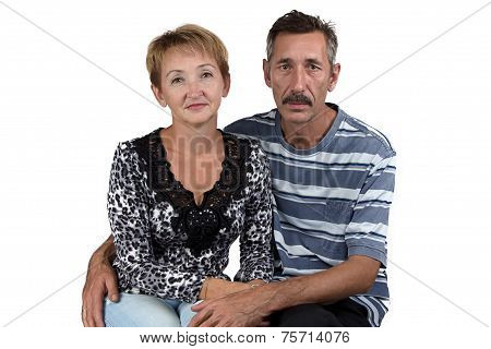 Portrait of the happy old man and woman