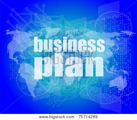 Management Concept: Business Plan Words On Digital Screen