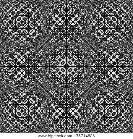 Design Seamless Monochrome Warped Grid Decorative Pattern