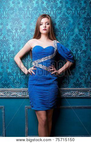 Gorgeous Diva In Blue Vintage Interior