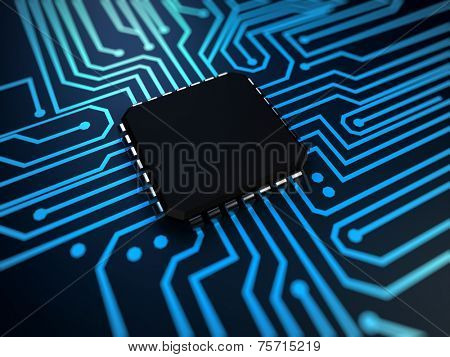 3d rendered illustration of a cpu in blue