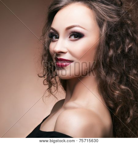 Sensual Woman Professional Make Up Brown Background