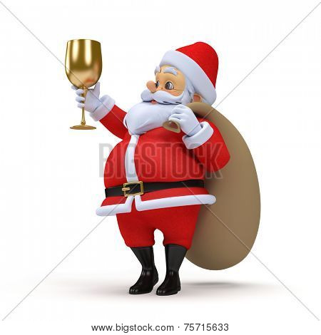 3d rendered illustration of a santa claus