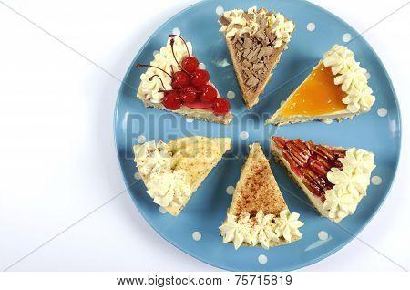 Thanksgiving Apple, Pecan, Cherry, Caramel, Pumpkin Spice And Chocolate Cream Cheesecake Pie, On Blu