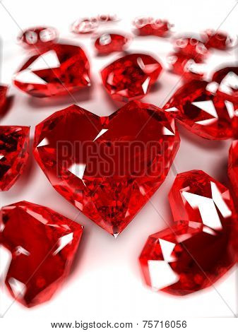 3d rendered illustration of some heart-shaped rubies