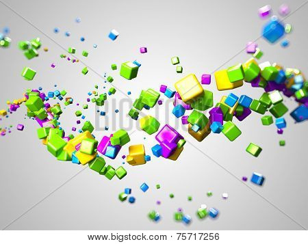 3d rendered illustration of some floating colorful cubes