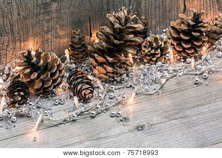 Christmas Lights With Pine Cones
