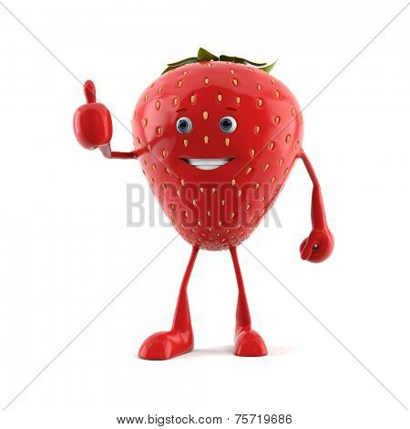 3d rendered illustration of a strawberry character