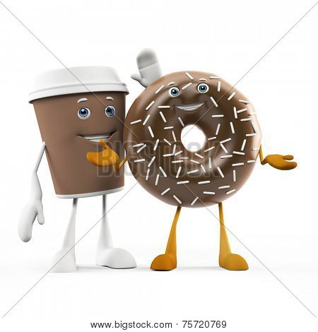 3d rendered illustration of a coffee cup and donut