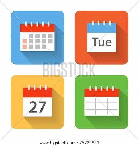 Flat Calendar Icons. Vector Illustration