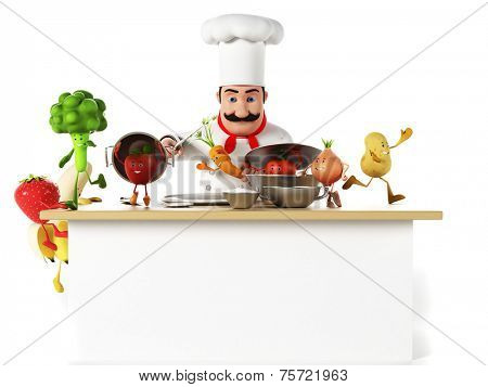 3d rendered illustration of a kitchen chef bothering with vegetables