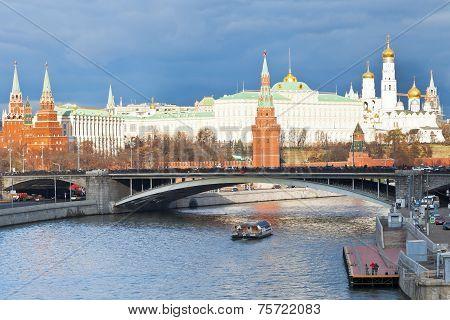 Bolshoy Kamenny Bridge And Kremlin In Moscow