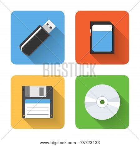 Flat Storage Device Icons. Vector Illustration