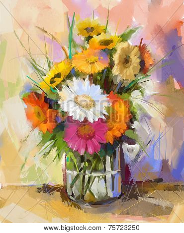 Glass vase with bouquet gerbera flowers. Oil painting