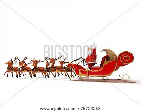 3d rendered illustration of a little santa and its sleigh