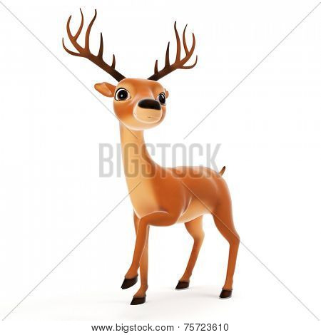 3d rendered illustration of a cute reindeer