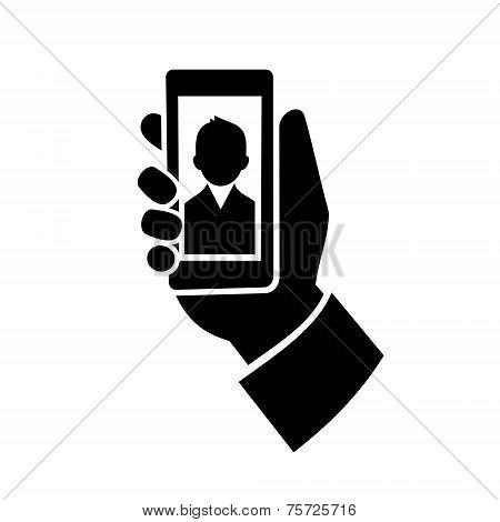 Man Making  Selfie Photo Icon. Vector