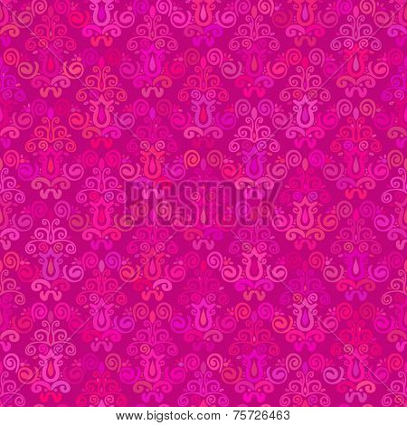 Abstract background Magenta hand drawn damask seamless ornament